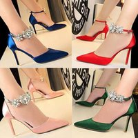 Wholesale charms words for sale - Group buy 2019 summer pointed high heel sandals Wedding Prom Shoes Satin surface fine blue shoes buckle a word sandals hollow out For sexy woman