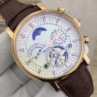 ingrosso orologi da polso completi-Swiss Top Brand Watch Luxury Tourbillon in pelle naturale orologio automatico orologio da polso meccanico Moon Phase Watches 18K Orologio calendario completo