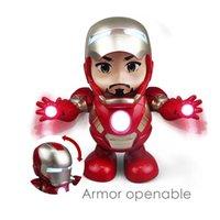 erkek sesleri toptan satış-Dans Kahraman 20 CM Demir Adam Bebek Süper Kahraman Avengers Modeli Oyuncak Işık Feneri Ile Led El Feneri Robot Çocuk Elektronik oyuncaklar Klasik hediyeler