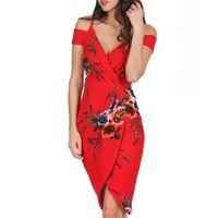 вечернее платье империи оптовых-Женщины с цветочным принтом V-образным вырезом с плеча без рукавов вечернее платье летняя империя сексуальный тонкий Bodycon G0523 # 20