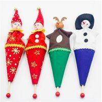 Wholesale child toy barrel resale online - Christmas Children Toys Wooden Barrels Retractable Wooden Cartoon Dolls Creative Kid Gifts Christmas Decoration A03