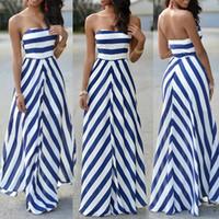 beachwear maxi elbiseleri toptan satış-Kadınlar Seksi Yaz Maxi Uzun Elbise Straplez Zarif Akşam Parti Beachwear Elbise Tatil Rahat Sundress