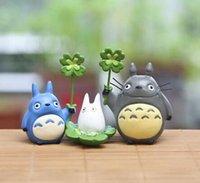 ingrosso set da giardino per bambini-3pcs / set carina fai da te in resina miniatura Totoro bambola paesaggio in miniatura degli animali del fumetto di Kawaii Figurine Garden Toy Kid Gifts