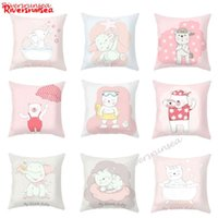 Wholesale bear flowers resale online - Cute Pink Elephant Cat Pillow Adorable Cartoon Animal Little Bear Bike Flower Printed Plush Cushion For Girl Kids Room Decor