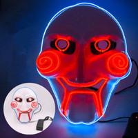 ingrosso linee chiare-Orrore Maschera Glowing Superficie EL Linea dell'onda acustica Masquerade Mask luci lampeggianti Illuminato del partito dei vestiti di modo LED Maschera EEA594