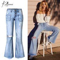 pantalones anchos de pierna rota al por mayor-Mujeres Ripped Flare Jeans Bell Bottom Jeans para mujeres Deep Blue Wide Leg Vintage Skinny Denim Pants Young Pantalones Mujer envío gratis