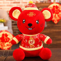 çince zodyak peluş toptan satış-Peluş Fare Sıçan 2020 Çin Yeni Yıl Zodyak Hayvan Maskot Oyuncaklar Hediyeler Kırmızı 8