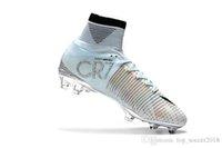 ronaldo açık hava futbol ayakkabıları toptan satış-Beyaz Orijinal Gümüş CR7 Futbol Cleats Mercurial Superfly V FG Açık Futbol Ayakkabıları En Kaliteli Cristiano Ronaldo Futbol Çizmeler