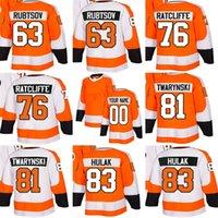 оранжевый 83 трикотаж оптовых-2018 Новый бренд Mens Philadelphia Flyers 63 Rubtsov 76 Ratcliffe 81 Twarynski 83 Hulak Orange White Дешевые майки для хоккея на льду Принимаем на заказ