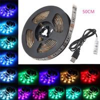 tira color multi led impermeable al por mayor-Tira de luz LED USB TV BackLight 15 Leds multicolor 5050 RGB Bias iluminación impermeable 5V