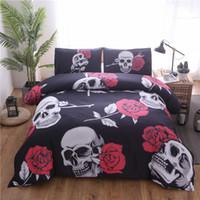 conjunto de consolador de rosa negra venda por atacado-Bonenjoy rose crânio rei conjunto de cama cor preta queen size colcha com fronhas consolador cama define juego de cama