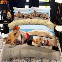 AHSNME Lovely Selfie Dog Quilt Cover Set Puppy Bedding Set Cute Pet Dog Bedlinen for Adult Kids Dropshipping