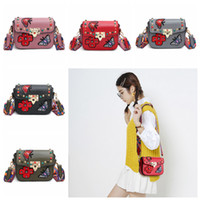 Wholesale flapping butterfly resale online - 5styles Butterfly Embroidery Rivet Shoulder Bag flap Fashion Design Women Girls Small girl lady Crossbody shoulder Bags FFA2394