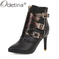 Wholesale white snakeskin high heels shoes resale online - Odetina Snakeskin Womens Sexy Stilettos Booties High Heel Dress Shoes Side Zip Up Ankle Boots Elegant Pointed Roe Buckle Strap