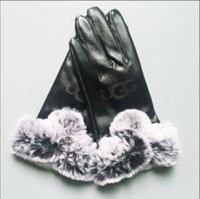 ingrosso donne genuino guanti di pecora-Donne Guanti invernali marchio di lusso della pelliccia genuina Softs moda in pelle di coniglio peluche schermo calda e morbida pelle di pecora sexy unità danza tocco guanti