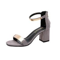 modelos de mujeres gruesas al por mayor-Sandalias de verano Punta abierta Mujer Sandle Zapatos de tacón grueso Zapatos de gladiador sandalias mujer de 2018 zapatillas Últimos modelos O0502 # 30MX190824