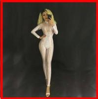 llevar traje clubwear al por mayor-2019 Nueva mujer Sprakling Crystals Bodysuit Nightclub Party Bodysuit Stage Wear CostumeWhite Black Yellow Women Sexy Grid Jumpsuit