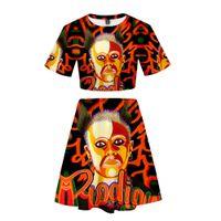 zwei stück orange rock großhandel-Streetwear 3D gedruckt Keith Flint Dropshipping Frauen Zweiteilige Sets Mode Sommer Kurzarm Crop Tops Rock Heißer Verkauf Lässig