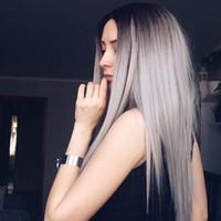 cabello largo perfecto al por mayor-Moda recta pelo largo negro Gery gradiente perfecto Cosplay peluca sintética Ombre color mezclado estilo de pelo