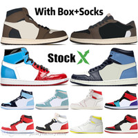 Wholesale high designer shoes resale online - 1 High Travis Scotts Low Fearless Obsidian Mens Basketball shoes Spiderman UNC s top Banned Bred Toe Men Sport Designer Sneakers
