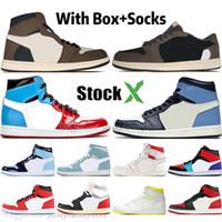 en iyi tasarımcı ayakkabı erkek toptan satış-1 Yüksek Travis Scotts Düşük Korkusuz Obsidyen Erkek Basketbol ayakkabı Spiderman UNC 1 s üst 3 Yasağı Bred Toe Erkekler Spor Tasarımcısı Sneakers