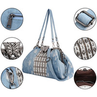 bolsos denim rhinestone al por mayor-2019 Fashion Denim Rhinestones Crystal Women Handbag Top Handle Butterfly Decoration Patchwork Bags Mujer Bolso de hombro Embrague