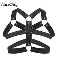 ingrosso borchie fantasia-TiaoBug Men Elastic Chest Harness Belt Metallo O-ring Borchie Muscolo Maschio BDSM Bondage Costume Sexy Gay Fancy Club Party Cinghie Top
