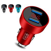 adaptador usb para móvil al por mayor-5V 3.1A Cargador de coche USB doble con pantalla LED Adaptador universal de carga de teléfono móvil universal con martillo de seguridad para iPhone Samsung