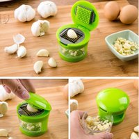 Wholesale plastic kitchen tools online - 2019 new Garlic Chopper Plastic Stainless Steel Mini Garlic Press Chopper Cutter Garlic Grinding Mashing Machine Kitchen Hand Tool with dhl