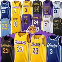camisolas do ingram de brandon venda por atacado-LeBron James 23 NCAA Anthony 3 Davis jerseys Kobe 8 homens 24 Bryant Kyle 0 Kuzma Lonzo 2 Ball Brandon 14 Ingram criança
