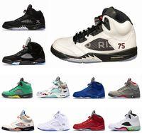 x uçuş toptan satış-Erkek Basketbol Ayakkabıları 5 5 s PSG X Paris Saint-Germain 75 Siyah Beyaz Kırmızı Mavi Süet Uluslararası Uçuş OG Siyah Metalik Spor Sneakers