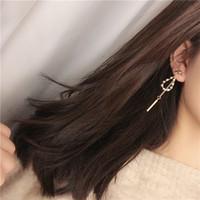 Wholesale mothers day pins for sale - Group buy New Women s Bow Pearl Earrings Silver Pin Tassel Word Long Pendant Dangle Earrings
