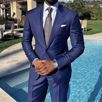 tecido de cor tafetá venda por atacado-Escuro smoking azul do casamento One Button clássico Fit lapela repicado prom Mens Suits Two Piece Suit (Jacket + calças)
