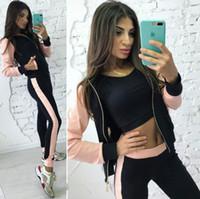 boné quente da roupa venda por atacado-+ calças 2019 paletó casuais Europeu e marca quente esportes roupa tampão impressão emenda zipper americanos das mulheres