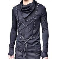 одежда для певицы ночного клуба оптовых-Мужчины Ночной клуб Dj Singer Хип-хоп Панк-Рок Черная футболка Готические топы с длинным рукавом Женщины Harajuku Slim Fit Streetwear Swag Одежда J190528