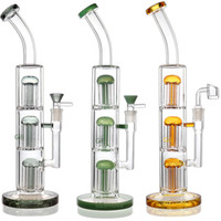 Wholesale triple tree water bong for sale - Group buy Triple tree perc filter glass heady inches tall bong dab rig water pipe smoking oil rigs with quartz banger wax hookahs