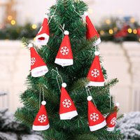 Wholesale topper hats for sale - Group buy 10PCS Mini Santa Hat With Rope Christmas Silverware Holder Pockets Wine Bottle Cap Topper Candy Cover Party Decor Crafts