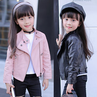 Wholesale woolen clothes for girls resale online - Girls Pu Jacket Tops Rivet Zipper Cool Jacket Leather Clothing For Girls Classic Collar Zipper Leather Motorcycle Clothes Y