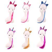 Wholesale kids cat makeup resale online - Girls Wig Ponytail Unicorn Headbands Kids Hair Sticks Party Cosplay Costume Makeup Hair Accessories Sequin Cat Ear Hairbands HHA729