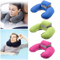 Wholesale neck air cushion resale online - Inflatable U Shape Neck Pillow Air Cushion Soft Head Rest Compact Plane Flight Travel Colors RRA2393