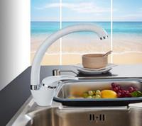 schwarze kupferhähne großhandel-Modern Style Home Multi-Color Kupfer Küchenarmatur Kalt- und Warmwasserhahn Einhand Schwarz Weiß Khaki