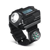 lanterna de carregamento venda por atacado-Ao ar livre mão estilo relógio lâmpadas cor preta usb tocha luzes de pulso luz com bússola lanternas de plástico 3qtE1