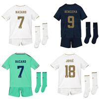 ingrosso calzini per bambini-2020 kit per bambini real Madrid con calzini home away set 3 ° bambino 19 20 HAZARD BENZEMA JOVIC maglie da calcio divisa da calcio camisa de futebol