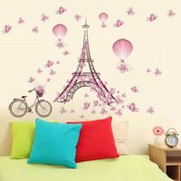 turm hintergrund großhandel-Vier Arten Paris Eisenturm Rosa Farbe Schmetterling Wohnzimmer Schlafzimmer Hintergrund Wasserdicht Wandtattoos Aufkleber