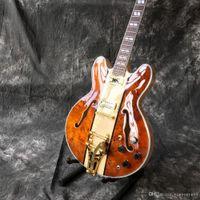 jazz guitarra oco corpo f buracos venda por atacado-Personalizado de alta qualidade venda quente duplo f buraco oco corpo jazz guitarra elétrica, guitarra acessórios de hardware de ouro, qualidade superior