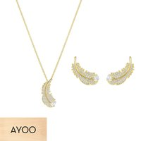 Wholesale feather necklace set resale online - AYOO SWA High Quality Necklace Earrings Bracelet Set Shiny Feather Pattern Crystal European Unique Style Women
