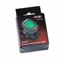Wholesale tuner online - AT AROMA Mini Size Clip Type Guitar Instrument Tuner Guitar Bass Ukulele Electrical Digital Clip Tuner