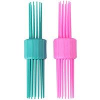 eski tarz tarak toptan satış-Vintage Haddeleme Saç Stili Tarak Çift Kafa Hairbrush Pinned Curl Rulo Bang Stand-up Rulo Fırça Saç Rulo Eğlenceli Saç U1071