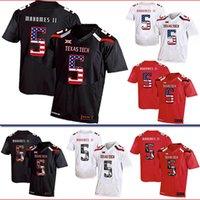 Wholesale usa american football resale online - Hot Mens Patrick Mahomes II Football Jersey Custom Texas Tech USA Flag Fashion Print High Quality Stitched College American Football Jerseys