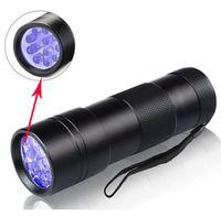 akrep pil toptan satış-12 UV ışık el feneri mor 395-400NM Ultra Violet ışıkları alüminyum alaşım fenerleri led Torch Akrep Dedektör Bulucu pil lambası